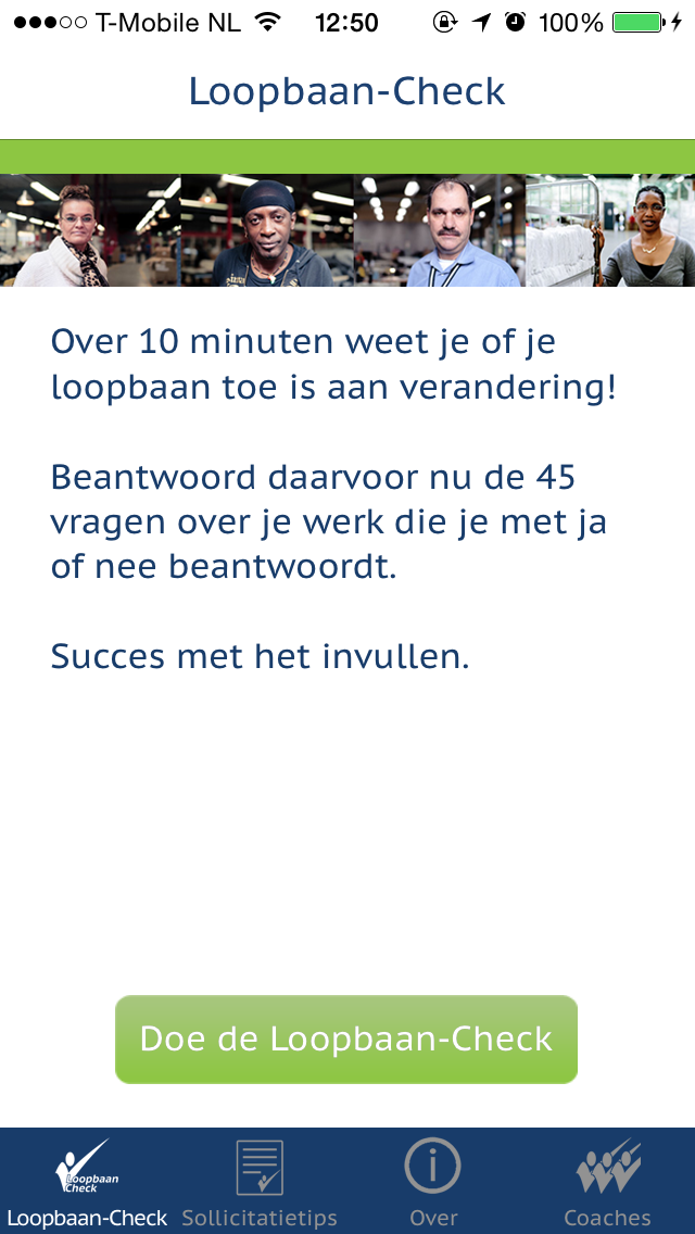Loopbaan-Check introductiescherm